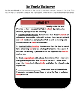 iPad Contract for Student Use