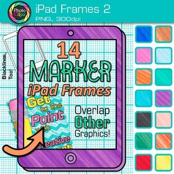 Rainbow iPad Frames Clip Art {Marker Page Borders for Technology Resources} 2