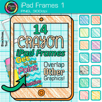 Rainbow iPad Frames Clip Art {Crayon Page Borders for Tech
