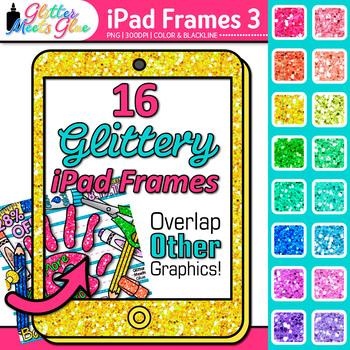 iPad Frame Clip Art {Rainbow Glitter Borders for Technology Resources} 3