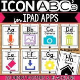 iPad Icon ABCs Alphabet Posters: White iPads with Print