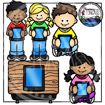 Ipad kid. Kids clipart