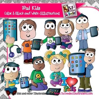 iPad Kids clip art