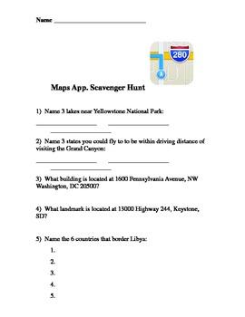 iPad Maps Scavenger Hunt