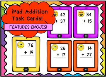 iPad Maths Addition Task Cards - With Emojis!