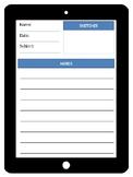 iPad Note Taking Worksheet [Editable]