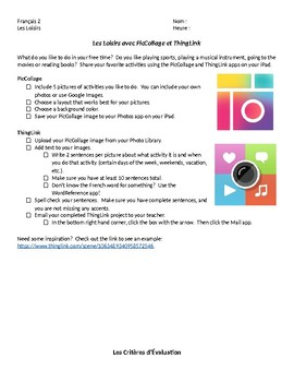 iPad PicCollage & ThingLink Leisure Activities - French Writing Project