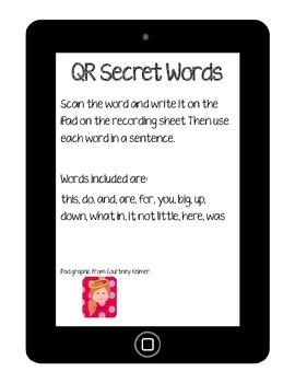 iPad QR code Sight Words
