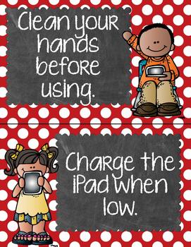 iPad Rules - Chalkboard Theme - Red, Yellow, & Aqua