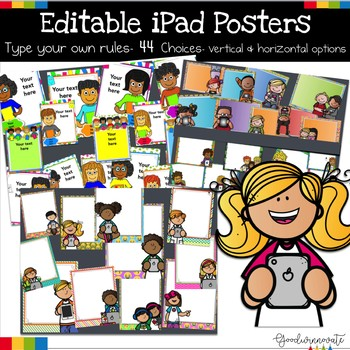 iPad Class Rules Posters Editable- 33 Choices