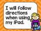 iPad Rules Posters & Student Contracts -Rainbow Chevron- Primary