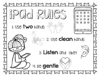 iPad Rules Printable/Coloring Sheet
