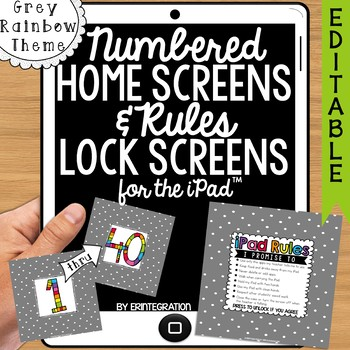 iPad Wallpaper Rules and Numbered Backgrounds:  Grey Dots & Rainbow Theme
