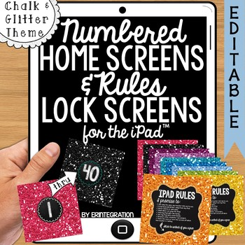 iPad Wallpaper Rules and Numbered Backgrounds:  Glitter  & Chalk
