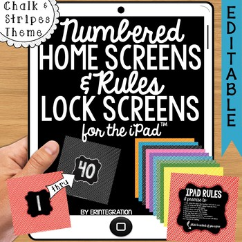 iPad Wallpaper Rules and Numbered Backgrounds:  Rainbow Stripes & Chalk