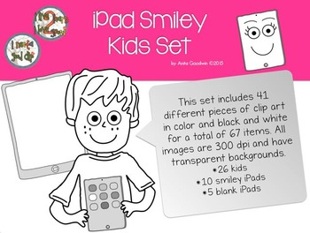 iPad Smiley Kids Clip Art Set