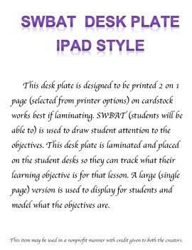 iPad Student Objective Desk Plate
