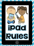 "Chevron Themed ""iPad / Tablet Rules"" for K-2"