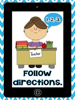 """Chevron Themed """"iPad / Tablet Rules"""" for K-2"""