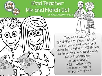 iPad Teacher Mix and Match Clip Art Set