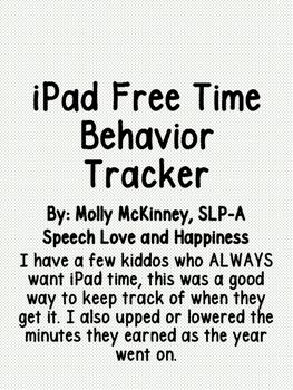 iPad Time Behavior Tracker- FREEBIE