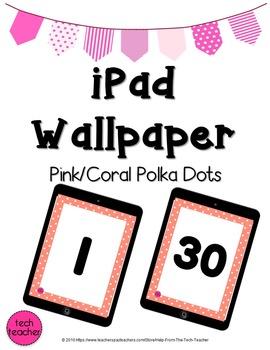 iPad Wallpaper Background: Pink/Coral Polka Dot