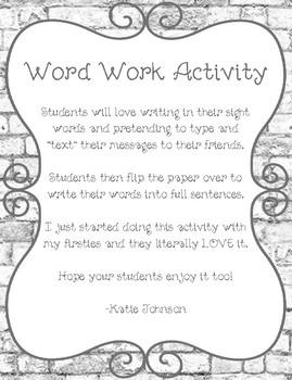 iPad Word Work Activity