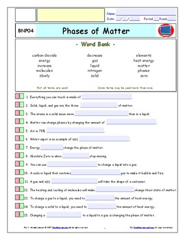 Phases of Matter - iPad Worksheet, Ans, and 2 Quizzes For