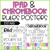 iPad and Chromebook Rules Posters (EDITABLE)