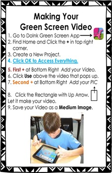 iPad and DoInk(TM) Green Screen Instruction Handout - Editable - Makerspace