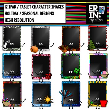 iPad clipart - 12 holiday iPad or tablet character clipart with seasonal pattern