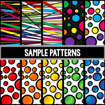 iPad clipart - 32 rainbow iPad or tablets images in dots, stripes, and blackline