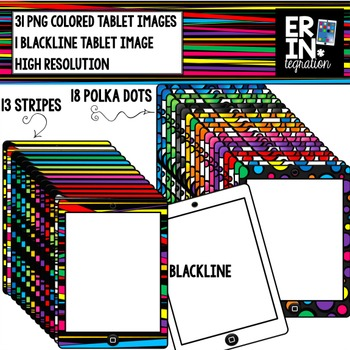 iPad clipart - 32 rainbow iPad or tablets images in dots,