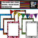 FREE iPad seasonal clipart - 7 holiday iPad or tablets images