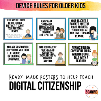 iPad & Device Rule Posters for Big Kids   To Teach Digital Citizenship