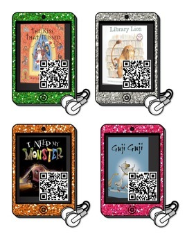 iPads listening center with QR codes