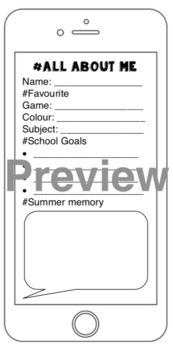 iPhone Back To School - Get to know me Selfie and info