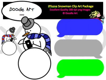 iPhone Snowman Clipart Pack