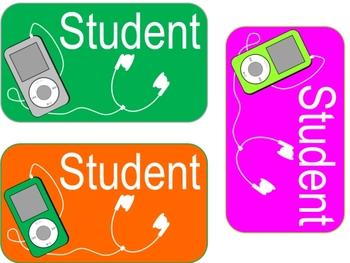 iPod Locker Tag/Name Tags/Labels--Customizable