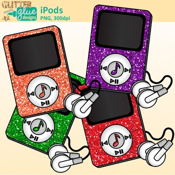 iPod Clip Art {Rainbow Glitter MP3 Devices for Music & Classroom Technology Use}