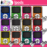 iPod Clip Art | Rainbow Glitter MP3 Devices for Music & Classroom Technology Use