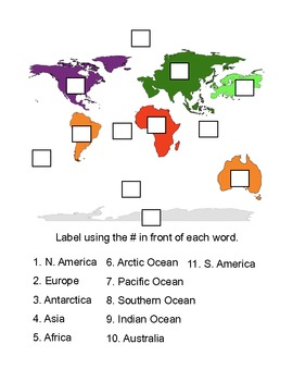 iPod/iPad Activity Sheet for Learn Continent App