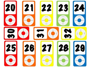 iPods with numbers, Number Cards using iPods~Primary Colors