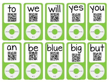 iPods~Sight Word iPods w/ QR CODES revealing fluency sentences Set~150 Words
