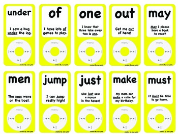 iPods~Sight Word iPods with fluency sentences Set~150 Words