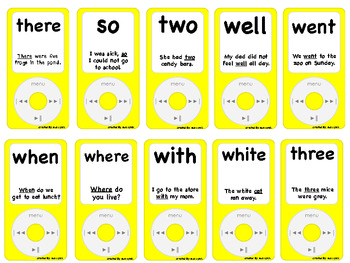 iPods~Sight Word iPods with fluency sentences~2nd Set~Center Fun Reinforcement