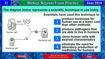 iPractice: Biology Regents Exam June 2014 (Great on iPads and Tablets)