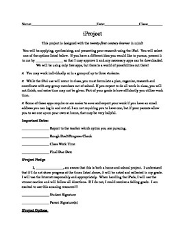 iProject: All You Need for a 21st Century iPad Math Project (WORD DOC)