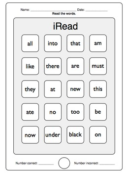 iRead Dolch Primer Sight Words - Worksheets & Flashcards