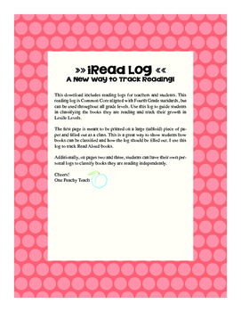 iRead Log- Common Core Aligned Reading Log